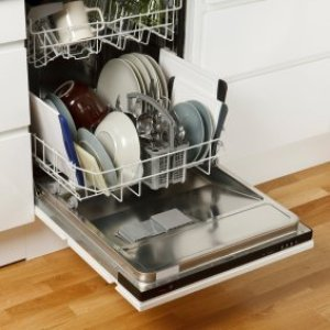 Dishwasher full of dishes.