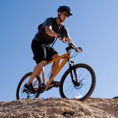 Man riding a mountain bike.