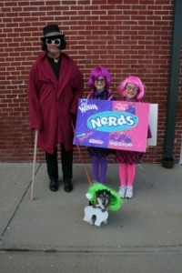 Two Little Girls in Nerds Box Costume Next to Wonka