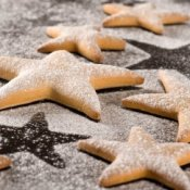 Sugar Cookie Recipes, A batch of sugar dusted star shaped cookies.