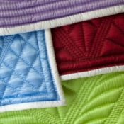 Up close photo of quilt binding.