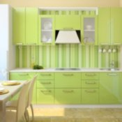 Organizing a Small Kitchen, A small kitchen painted lime green.