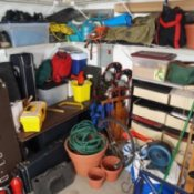 Photo of a messy garage.