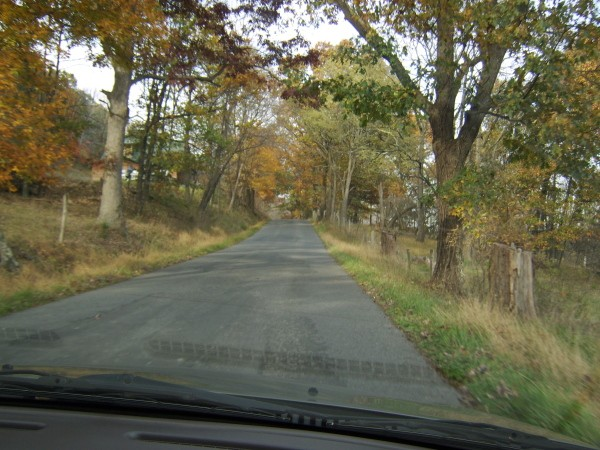 View of Country Road from Inside Vehicle