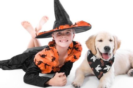 A young witch with a cute Halloween puppy.