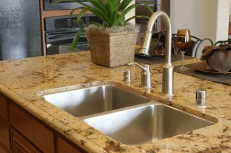 Removing Stains from Granite, Granite Kitchen Counter and Stainless Sink