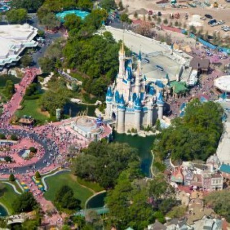 An aerial photo of Disneyland.