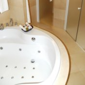 Luxury bathroom with jetted tub.