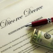 Divorce Decree With Pen and 20 Dollar Bill