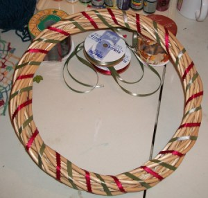 rattan ring wrapped in ribbon