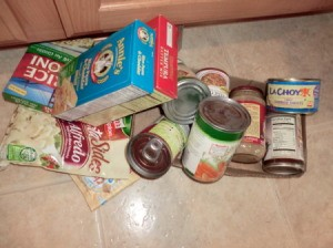 Pile of expired food from cabinet.