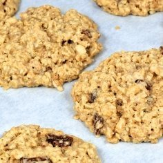 A pan of oatmeal cookies.