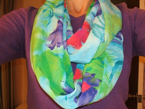 Infinity scarf, finished and around neck of creator.