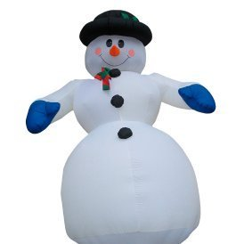 Inflatable snowman decoration.