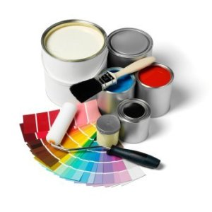 Paint Cans with Color Spectrum and Brushes
