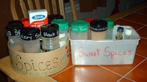 Photo of using recycled containers to organize spices.
