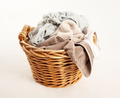 Laundry Basket Full of Dirty Towels
