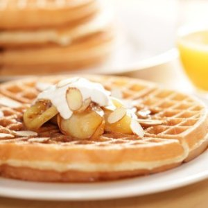 Homemade Waffles Recipes, Homemade waffles topped with apples.