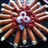 A plate of hot dogs that look like severed fingers for a Halloween party.