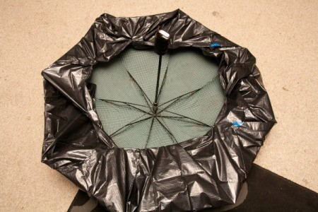 Umbrella Covered in Plastic on the floor for Doom Shroom Costume