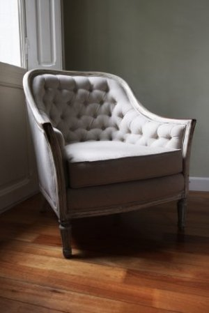 White French Chair on Wood Floor by Window