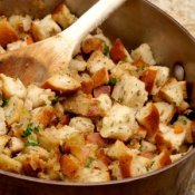 Thanksgiving Stuffing Being Made in a Large Saucepan