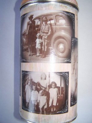 Decoupaged Tin with old photos