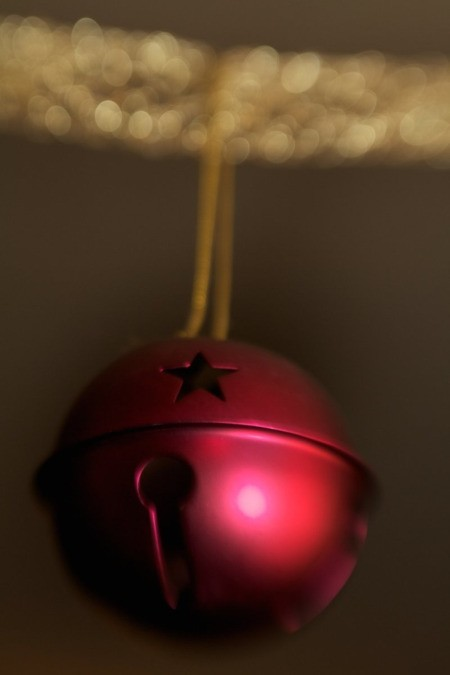 Closeup of Red Christmas Bell Ornament