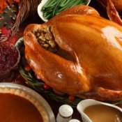 Large Turkey and Side Dishes at Thanksgiving Dinner Table