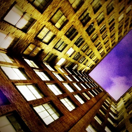Purple Sky Viewed from Apartment Complex Ground Floor