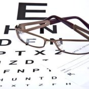 Prescription Eyeglasses Sitting on Eye Chart