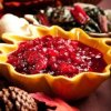 Cranberry Relish in Yellow Dish at Thanksgiving Dinner Table