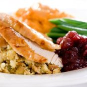 Thanksgiving leftovers on a plate.