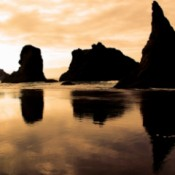 Face Rock Silhouette Reflections in Bandon, OR