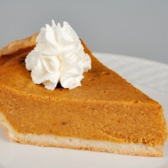 A slice of pumpkin pie.