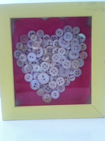 Button Heart in picture Frame
