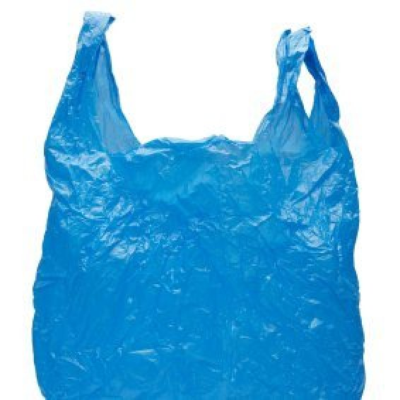 Organizing Plastic Bags, A blue plastic grocery bag.