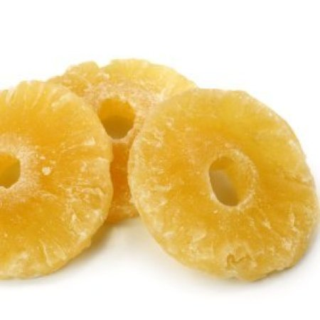 Slices of dried pineapple.