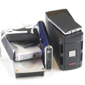 A group of external hard drives.