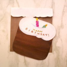 Birthday card in the shape of a cake with candles.