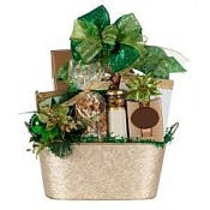 Gift basket with green ribbon.