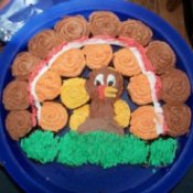 Cupcakes decorated to make a turkey using several with different frostings..