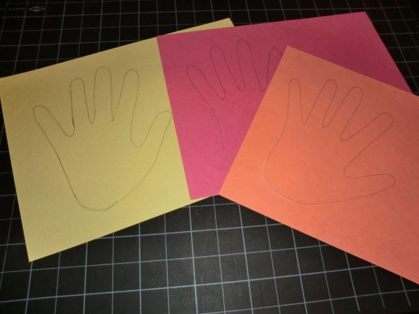 Hand prints on assorted paper.