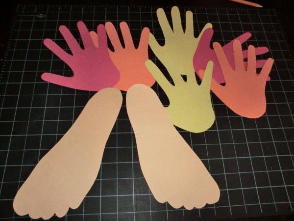 Cutouts of hands and feet.