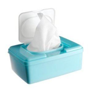 Open baby wipes container.