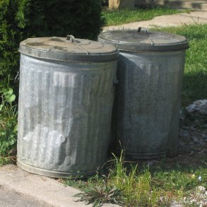 Two metal garbage cans.