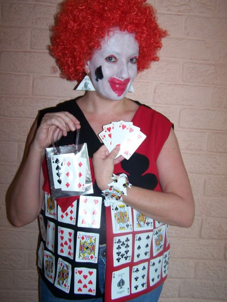 Woman in Card Clown Party Costume