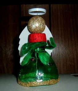 Angel made from a pop bottle.