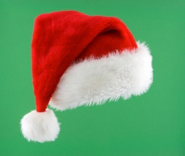 Santa Hat on Green Background
