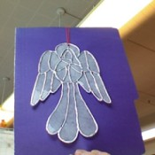 Photo of an angel craft made form used dryer sheets.